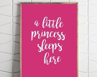 princess printable art, princess wall decor, girl nursery decor, girl nursery art, girl printable gift