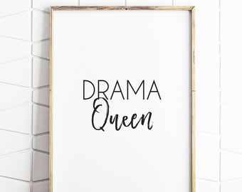 girls room decor, drama queen decor, printable drama queen, girls room art, printable girls room decor, girls room download