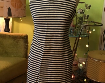 Vintage Blue and White Striped Dress Mod