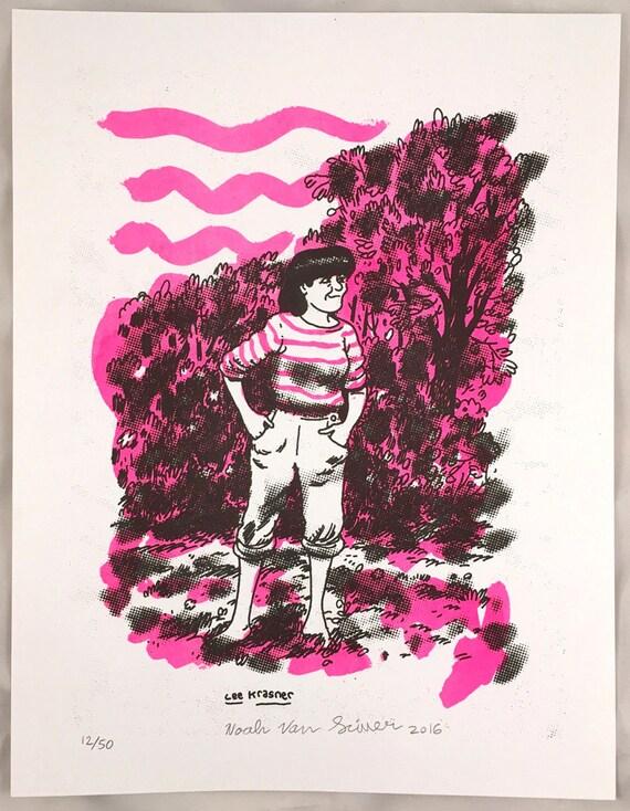 "Risograph print ""Lee Krasner"" by Noah Van Sciver"