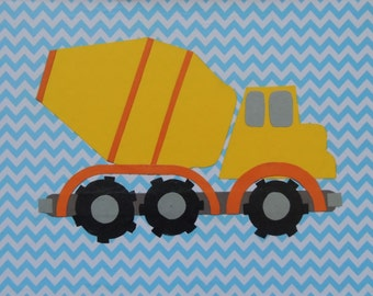 "Cement Truck Collage with Blue Chevron Background - 9"" x 12"" Wall Hanging"