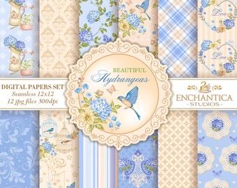 Digital Paper Floral, Floral Digital Papers, Blue Digital Paper, Hydrangeas Digital Paper, Digital Paper Vintage, Bird Vintage Digital Paper