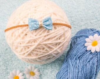 VINTAGE polka dot bow newborn headband - photo prob