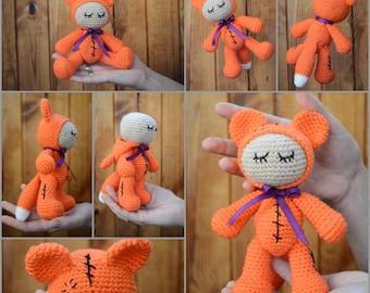 Little fox 17 cm Fox plush Fox soft toy Stuffed fox doll Fox stuffed animal Fox soft toy Handmade gifts  animal soft toys