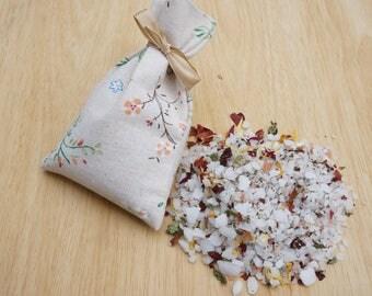 Bridesmaid Gift Sets/Detox Bath Salts in Linen Printed Bag/Cadeaux pour les demoisselles d'honneur