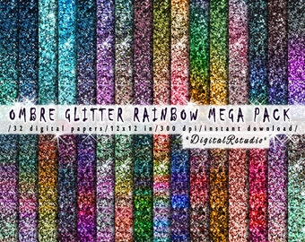 Glitter digital paper Ombre Rainbow printable wrapping papers Winter Christmas tinsel glittery sparkle Digital paper pack INSTANT DOWNLOAD