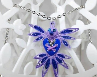 Fimo steampunk quilling blue and pink bird necklace