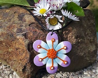 Pink, blue and orange flower necklace made in fimo