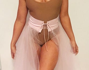 Corseted Tulle Coverup