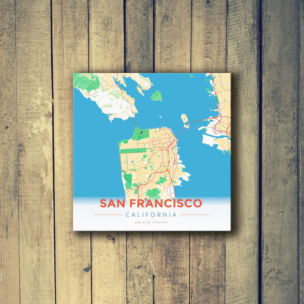 Gallery Wrapped Map Canvas of San Francisco California Modern