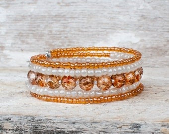 Bracelet 5 rows, gold, orange bracelet, chic bracelet, ivory and gold memory wire, stainless steel, glass beads, memory wire.