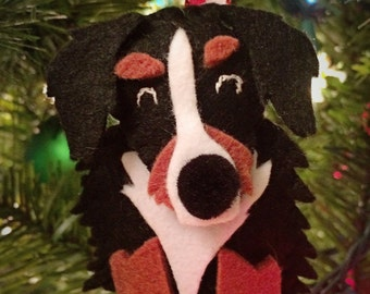 Handmade Felt Bernese Mountain Dog Ornament