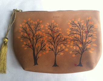 CUSTOM-Leather Clutch Purse, Hand Painted