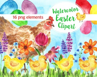 Watercolor Easter Clip art, Easter clipart, Spring clip art.