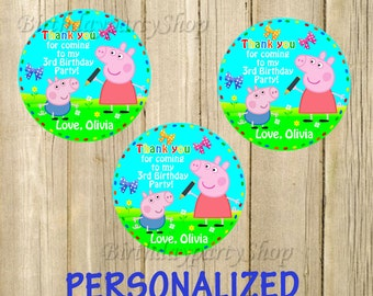 Peppa Pig Favor Tag, Peppa Thank You Tags, Personalized, Digital File