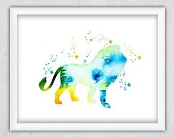 Watercolor Lion Print, Nursery Room Print, Safari Animal Art, Nursery Watercolor Art Decor, Kids Poster, Digital Download Art Print, Lion