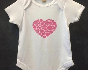heart print baby bodysuit short sleeve 100% cotton