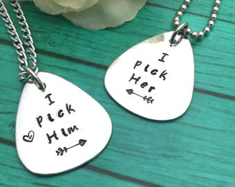 Guitar pick pendants, His and Hers set, arrows, couples gift, hand stamped jewelry, anniversary, wedding, I pick him, I pick her.