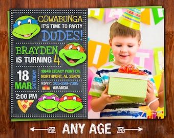 Ninja Turtle Invitation, Ninja Turtles Party, TMNT invitation, Teenage Mutant Ninja Turtle invitations, TMNT Birthday Invitation, TMNT.