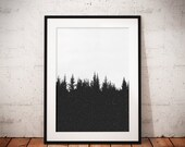 Winter Landscape Print, Minimalist Christmas Decor, Black and White Photography, Snow Print, Christmas Trees, Monochrome Poster, Winter Art