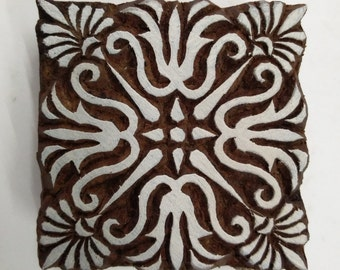 Wooden Printing Block Floral Chokra Pattern Indian Hand Carved Fabric Art Stamp