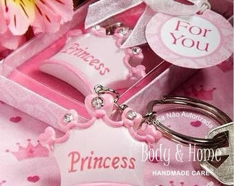 10 x Princess Imperial crown key chain key ring keychain +gift box ribbon baby shower gift favor