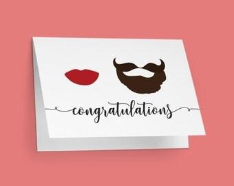 Hipster Couple Card. Beard Card. Engagement Card. Wedding Card. Hipster Wedding. Congratulations. Hipster Love. Fun Hipster Weddi ng.