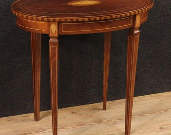English inlaid side table in mahogany