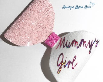 Mummys bestie/girl hair bow, pink, Mother's Day, glitter