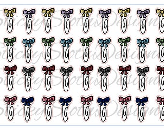Bow Paperclips - 40 Planner Stickers