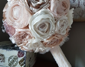 Vintage Fabric Rose and Peony Bridal Bouquet