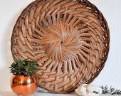 Vintage Large Natural Woven Flat Basket, Charger or Wall Hanging // Boho Decor