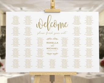 Gold Wedding seating chart, printable seating chart, Seating Chart Template, engagement seating chart, Find your seat sign, WPC_512
