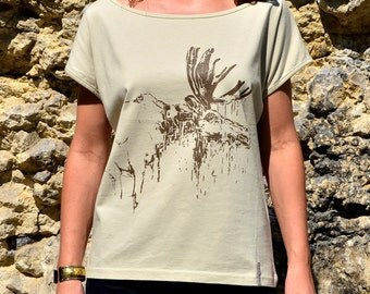 Beige T-Shirt for Her with Moose Screen Print, T Shirt, Beige Grey Yellow Clothes for Her, Woman's Clothes, Woman's T-Shirt