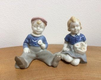 Vintage Pair Porcelain Figurines - boy and girl with flowers,Copenhagen style,subtle blue & grey glaze