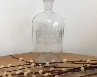 Vintage Etched Glass Chemist's, Laboratory Bottle - Ammonium Molybdate