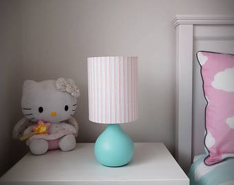 Pink and aqua stripy lamp