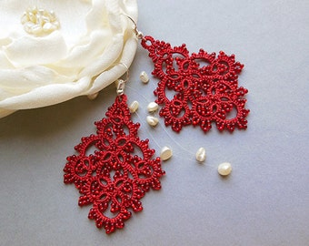 Red  tatting  lace earrings, tatted lace jewelry, tatted beaded earrings, red lace jewelry, victorian jewelry, stylish jewelry. gift for her