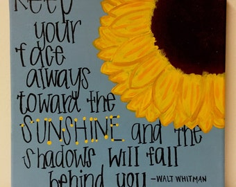 Sunshine Sunflower Quote Canvas Painting