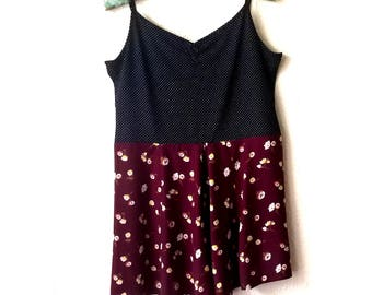 Sleeveless Dress - Polka Dot and Red - Size s/m. Refashion Upcycled Clothing by OOhLaDesigns