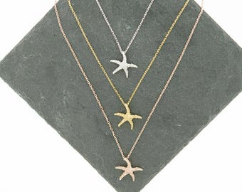 925 Sterling Silver Starfish Studs Necklace, Gold Starfish, Rose Gold Starfish
