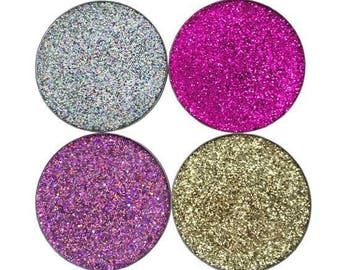 Super Sparkly Multi Tonal Pressed Glitter Eyeshadow Set Shine Bright Pinks Gold and Silver