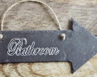 Bathroom Sign, Rustic Bathroom Sign, Slate Bathroom Sign, Toilet/washroom/ Restroom