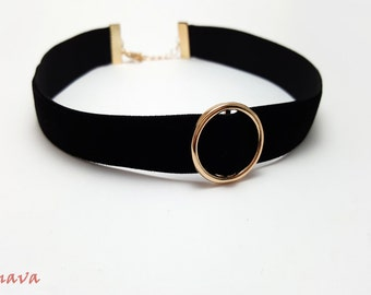 Choker velvet collar with ring black / gold