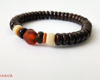 Bracelet coconut beads glass beads Brown