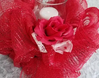 Red floating candle centerpiece.  Wedding centerpiece. Table centerpiece. Mothers day gift. Comes with floating candle or regular candle