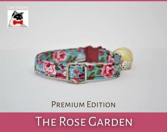 Kitten & Cat collar 'The Rose Garden' - Floral Vintage Style Breakaway Cat Collar - Cute cat collar