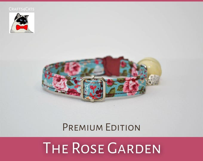 Featured listing image: 'The Rose Garden' vintage style collar for cats and kittens available with breakaway and non-breakaway buckles