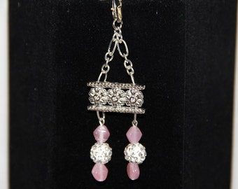 Pink beads and Crystal Pendant