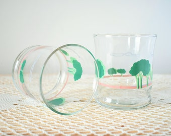 1980s Tumbler Glasses With Tree & Cloud Patterns